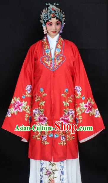 Traditional China Beijing Opera Young Lady Hua Tan Costume Red Embroidered Cape, Ancient Chinese Peking Opera Female Diva Embroidery Peony Dress Clothing