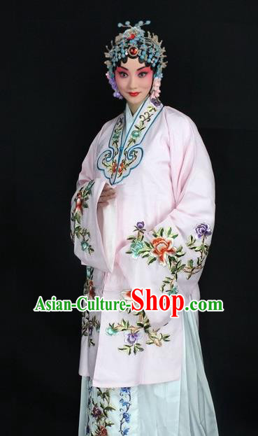Traditional China Beijing Opera Young Lady Hua Tan Costume Light Pink Embroidered Cape, Ancient Chinese Peking Opera Female Diva Embroidery Peony Dress Clothing