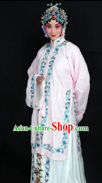 Traditional China Beijing Opera Young Lady Hua Tan Costume Female Pink Embroidered Cape, Ancient Chinese Peking Opera Diva Embroidery Dress Clothing