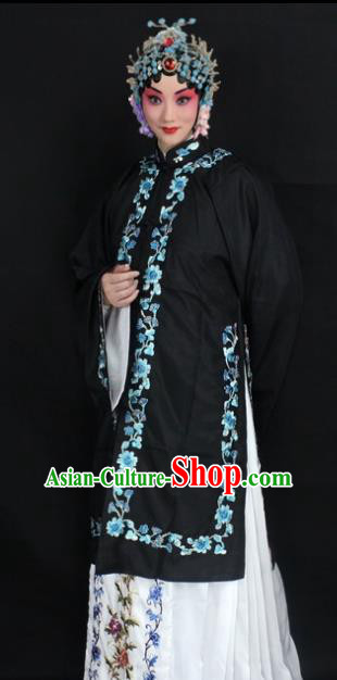 Traditional China Beijing Opera Young Lady Hua Tan Costume Female Black Embroidered Cape, Ancient Chinese Peking Opera Diva Embroidery Dress Clothing