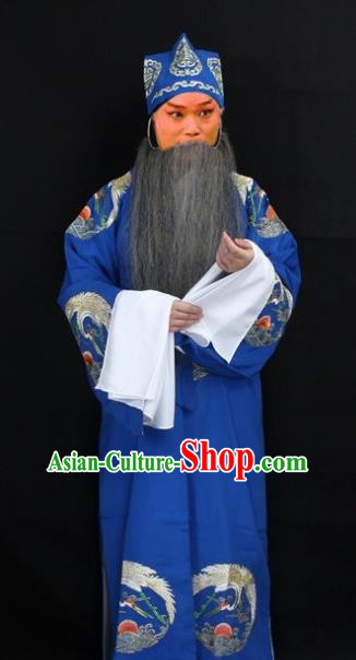 Traditional China Beijing Opera Costume Laosheng-role Embroidered Robe and Headwear, Ancient Chinese Peking Opera Embroidery Gwanbok Clothing
