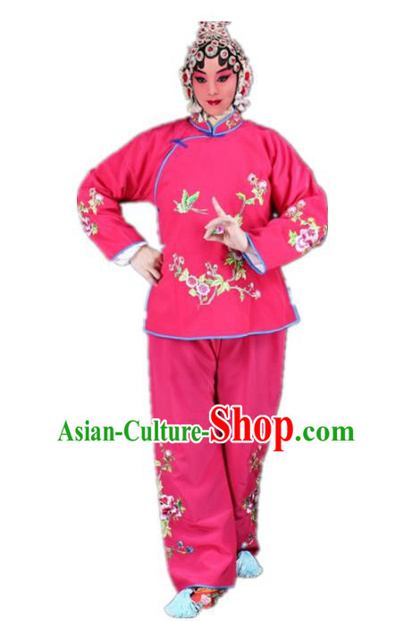 Traditional China Beijing Opera Young Lady Hua Tan Costume Maidservants Embroidered Rosy Clothing, Ancient Chinese Peking Opera Diva Embroidery Dress Clothing