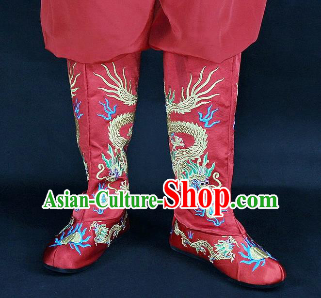 Traditional China Beijing Opera Qing Dynasty Emperor Embroidered Shoes, Ancient Chinese Peking Opera Embroidery Dragons Red Boots