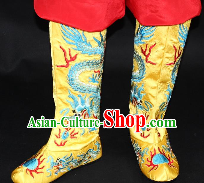 Traditional China Beijing Opera Qing Dynasty Emperor Embroidered Shoes, Ancient Chinese Peking Opera Embroidery Dragons Yellow Boots