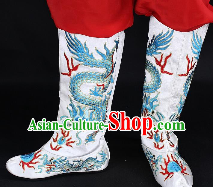 Traditional China Beijing Opera Qing Dynasty Emperor Embroidered Shoes, Ancient Chinese Peking Opera Embroidery Dragons White Boots