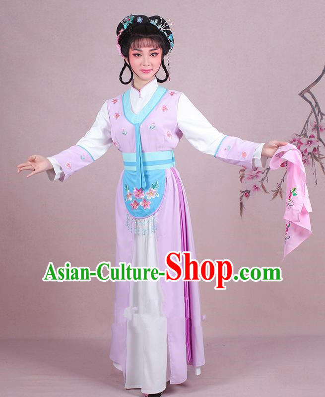 Traditional China Beijing Opera Young Lady Hua Tan Costume Servant Girl Embroidered Lilac Clothing, Ancient Chinese Peking Opera Diva Embroidery Dress Clothing