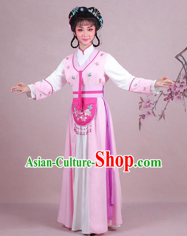 Traditional China Beijing Opera Young Lady Hua Tan Costume Servant Girl Embroidered Pink Clothing, Ancient Chinese Peking Opera Diva Embroidery Dress Clothing