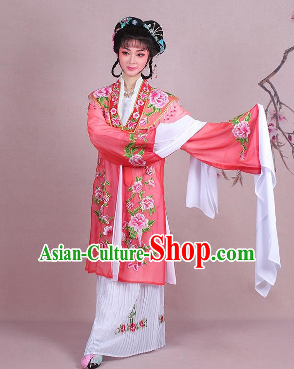 Traditional China Beijing Opera Young Lady Hua Tan Costume Embroidered Watermelon Red Shawl, Ancient Chinese Peking Opera Diva Embroidery Dress Clothing