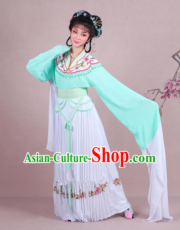 Traditional China Beijing Opera Young Lady Costume A Dream in Red Mansions Maidservants Embroidered Green Dress, Ancient Chinese Peking Opera Hua Tan Embroidery Clothing