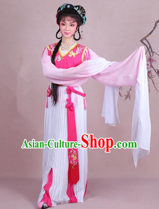 Traditional China Beijing Opera Young Lady Servant Girl Costume Embroidered Pink Dress, Ancient Chinese Peking Opera Diva Embroidery Clothing