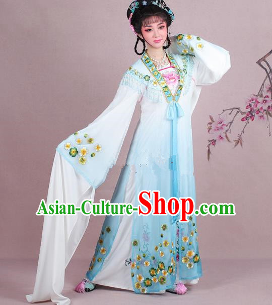 Traditional China Beijing Opera Young Lady Costume Embroidered Blue Fairy Dress, Ancient Chinese Peking Opera Diva Embroidery Plum Blossom Clothing