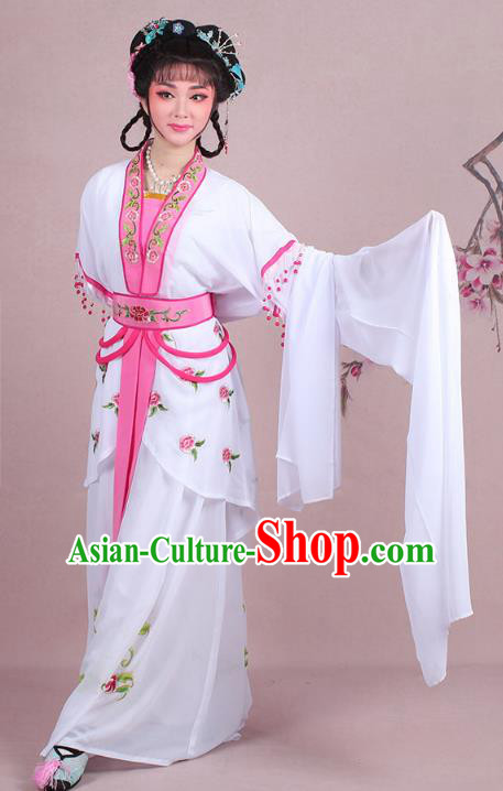 Traditional China Beijing Opera Young Lady Costume Embroidered White Servant Girl Dress, Ancient Chinese Peking Opera Diva Embroidery Clothing