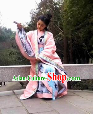 Traditional Chinese Han Dynasty Imperial Concubine Costume Cloak Complete Set, China Ancient Hanfu Dress Palace Princess Embroidery Clothing for Women