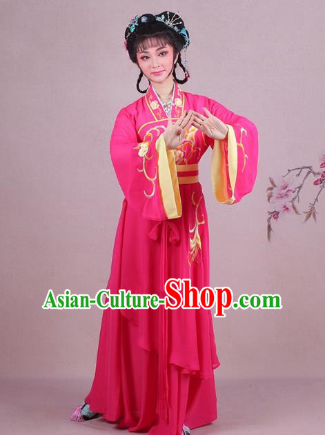 Traditional China Beijing Opera Palace Lady Costume Embroidered Servant Girl Dress, Ancient Chinese Peking Opera Diva Embroidery Rosy Clothing