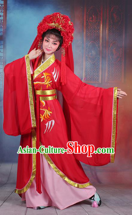 Traditional China Beijing Opera Palace Lady Costume Princess Wedding Embroidered Dress, Ancient Chinese Peking Opera Diva Embroidery Red Clothing
