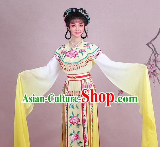 Traditional China Beijing Opera Palace Lady Costume Imperial Consort Embroidered Yellow Dress, Ancient Chinese Peking Opera Diva Hua Tan Embroidery Clothing