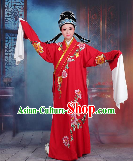 Traditional China Beijing Opera Niche Costume Gifted Scholar Red Embroidered Robe and Hat, Ancient Chinese Peking Opera Young Men Embroidery Peony Clothing