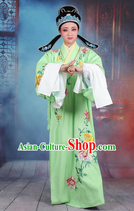 Traditional China Beijing Opera Niche Costume Gifted Scholar Green Embroidered Robe and Hat, Ancient Chinese Peking Opera Young Men Embroidery Peony Clothing