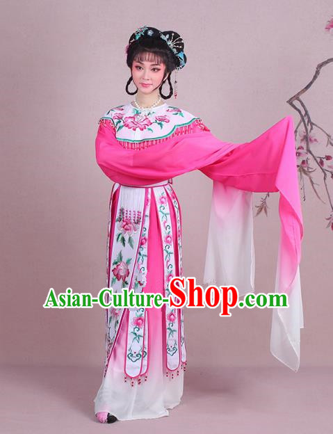 Traditional China Beijing Opera Palace Lady Costume Imperial Consort Embroidered Rosy Dress, Ancient Chinese Peking Opera Diva Hua Tan Embroidery Clothing