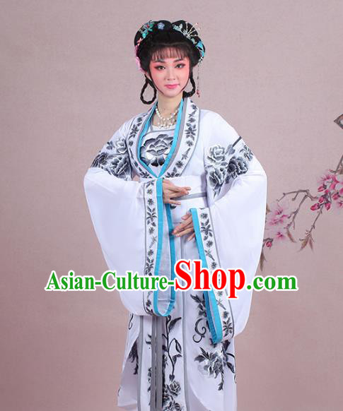 Traditional China Beijing Opera Palace Lady Costume Imperial Princess Embroidered White Dress, Ancient Chinese Peking Opera Diva Hua Tan Embroidery Clothing