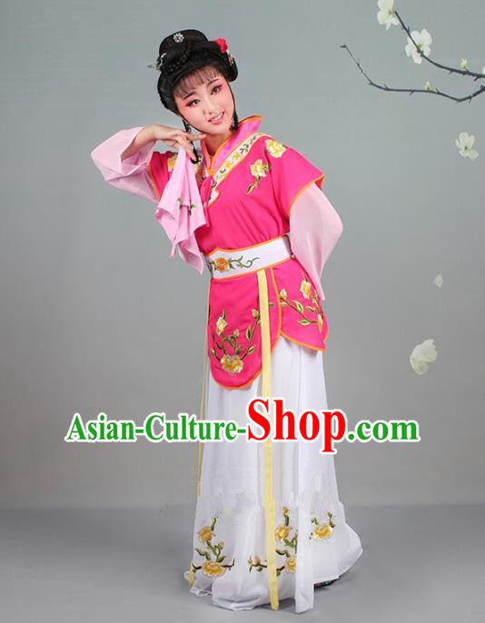 Traditional China Beijing Opera Young Lady Costume Servant Girl Embroidered Burgandy Dress, Ancient Chinese Peking Opera Diva Jordan-Sitting Embroidery Clothing