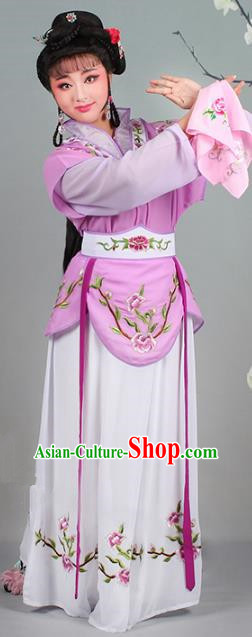 Traditional China Beijing Opera Young Lady Costume Servant Girl Embroidered Purple Dress, Ancient Chinese Peking Opera Diva Jordan-Sitting Embroidery Clothing
