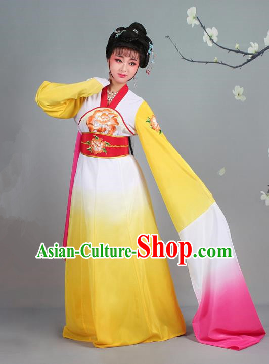 Traditional China Beijing Opera Palace Lady Hua Tan Costume Gradient Yellow Water Sleeve Dress, Ancient Chinese Peking Opera Diva Senior Concubine Embroidery Clothing