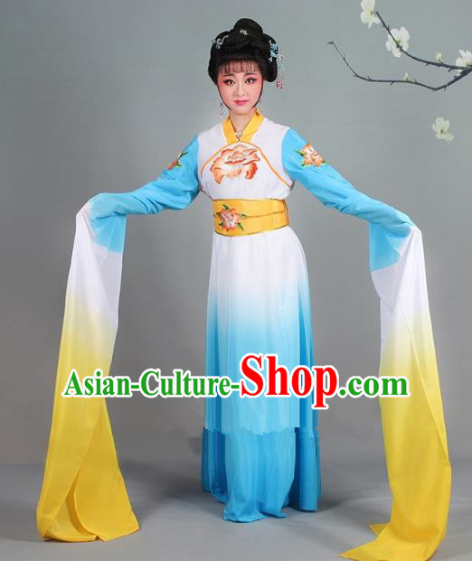 Traditional China Beijing Opera Palace Lady Hua Tan Costume Gradient Blue Water Sleeve Dress, Ancient Chinese Peking Opera Diva Senior Concubine Embroidery Clothing