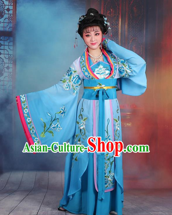 Traditional China Beijing Opera Palace Lady Hua Tan Costume Blue Embroidered Dress, Ancient Chinese Peking Opera Diva Princess Embroidery Clothing