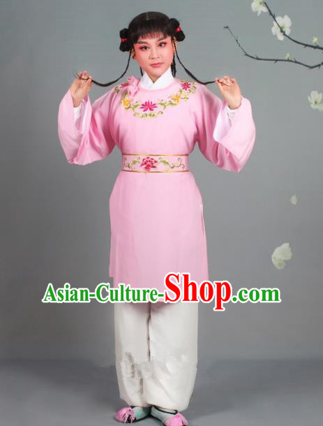 Traditional China Beijing Opera Livehand Costume Scholar Embroidered Pink Robe, Ancient Chinese Peking Opera Book Boy Embroidery Clothing