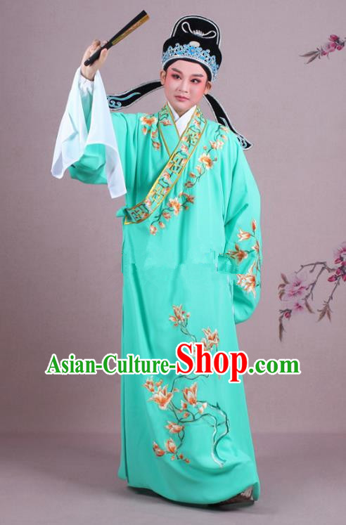 Traditional China Beijing Opera Niche Costume Gifted Scholar Green Embroidered Robe and Hat, Ancient Chinese Peking Opera Young Men Embroidery Mangnolia Clothing