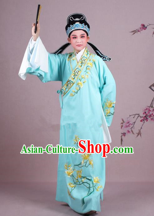 Traditional China Beijing Opera Niche Costume Gifted Scholar Light Blue Embroidered Robe and Hat, Ancient Chinese Peking Opera Young Men Embroidery Mangnolia Clothing
