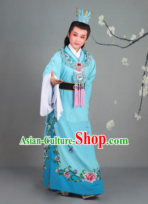 Traditional China Beijing Opera Niche Costume Gifted Scholar Jia Baoyu Blue Embroidered Robe and Hat, Ancient Chinese Peking Opera Young Men Embroidery Peony Clothing