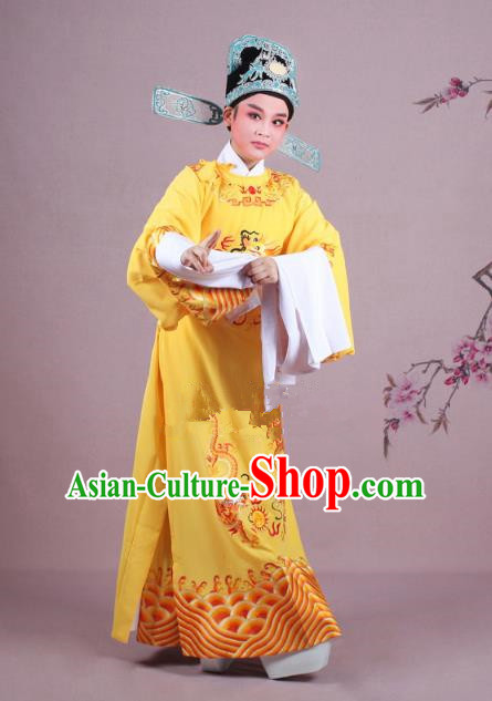 Traditional China Beijing Opera Niche Costume Lang Scholar Yellow Embroidered Robe and Hat, Ancient Chinese Peking Opera Magistrate Embroidery Dragons Gwanbok Clothing