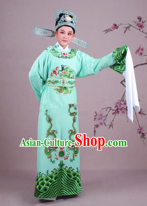 Traditional China Beijing Opera Niche Costume Lang Scholar Green Embroidered Robe and Hat, Ancient Chinese Peking Opera Magistrate Embroidery Dragons Gwanbok Clothing