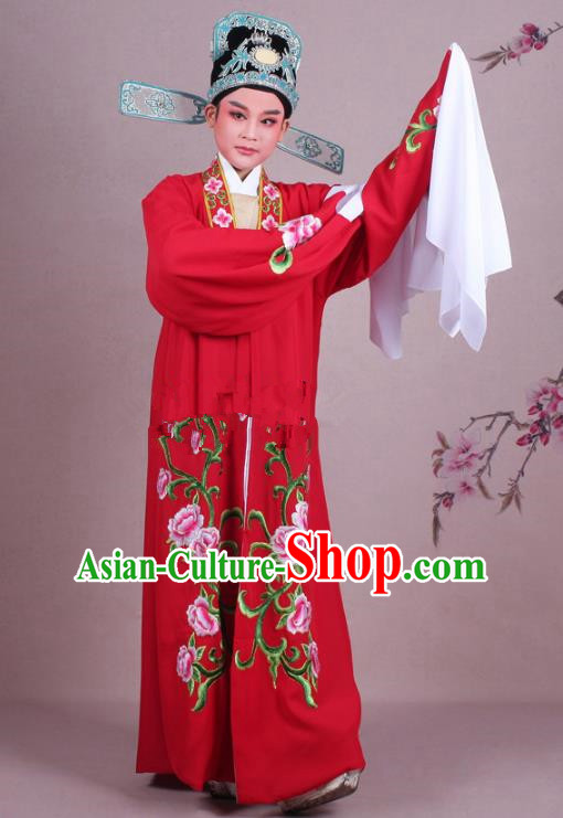 Traditional China Beijing Opera Niche Costume Gifted Scholar Red Embroidered Cape and Hat, Ancient Chinese Peking Opera Young Men Embroidery Peony Clothing