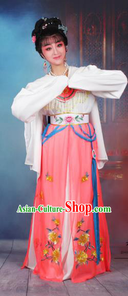 Traditional China Beijing Opera Young Lady Hua Tan Costume Watermelon Red Embroidered Dress, Ancient Chinese Peking Opera Diva Senior Concubine Embroidery Peony Clothing