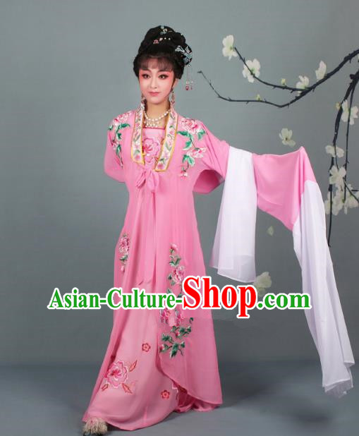 Traditional China Beijing Opera Young Lady Hua Tan Costume Princess Pink Embroidered Cape, Ancient Chinese Peking Opera Diva Embroidery Dress Clothing