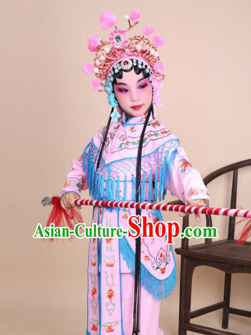 Traditional China Beijing Opera Swordplay Costume Female Warriors Pink Embroidered Robe with Cloak, Ancient Chinese Peking Opera Blues Embroidery Clothing for Kids