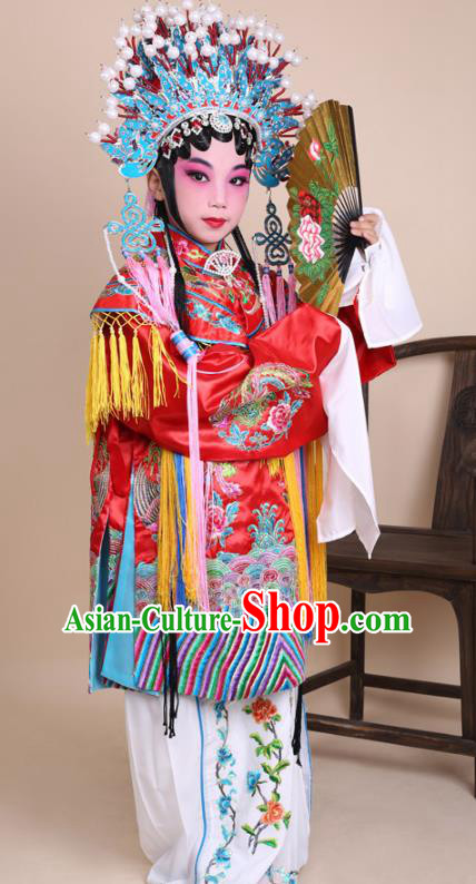 Traditional China Beijing Opera Costume Senior Concubine Red Embroidered Robe and Headwear, Ancient Chinese Peking Opera Diva Hua Tan Embroidery Dress Clothing for Kids