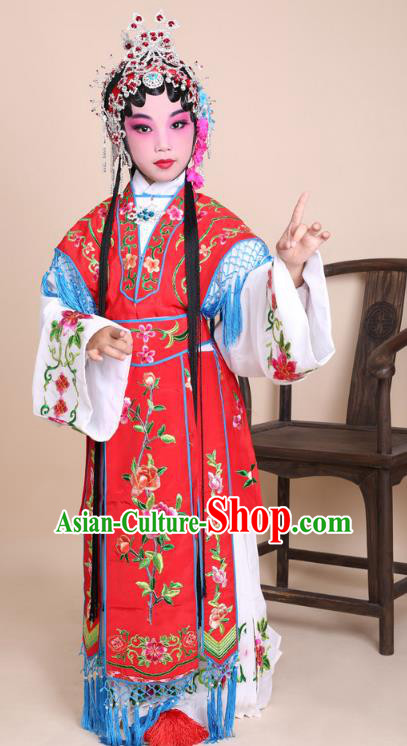 Traditional China Beijing Opera Costume Red Embroidered Dress and Headwear, Ancient Chinese Peking Opera Diva Hua Tan Embroidery Clothing for Kids