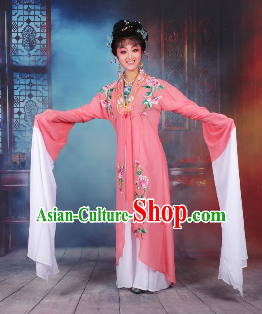 Traditional China Beijing Opera Young Lady Hua Tan Costume Princess Watermelon Red Embroidered Cape, Ancient Chinese Peking Opera Diva Embroidery Dress Clothing