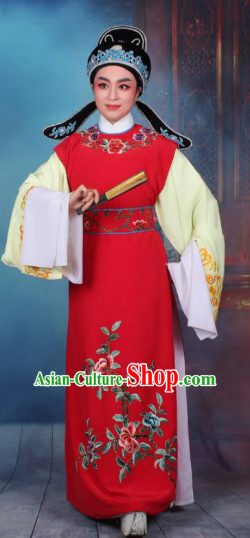 Top Grade Professional Beijing Opera Niche Costume Scholar Red Embroidered Waistcoat, Traditional Ancient Chinese Peking Opera Embroidery Young Men Clothing