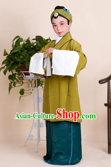 Traditional China Beijing Opera Old Women Costume, Ancient Chinese Peking Opera Pantaloon Ginger Dress Clothing for Kids