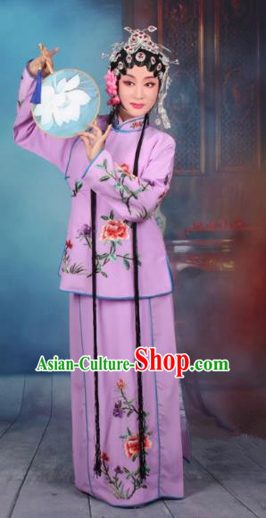 Top Grade Professional Beijing Opera Young Lady Costume Servant Girl Purple Embroidered Dress, Traditional Ancient Chinese Peking Opera Maidservants Embroidery Peony Clothing