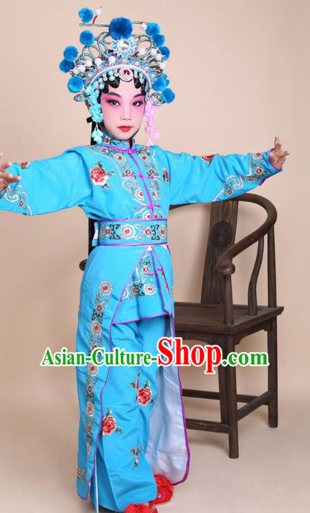 Traditional China Beijing Opera Swordplay Costume Female Warriors Blue Embroidered Robe and Headwear, Ancient Chinese Peking Opera Blues Embroidery Clothing for Kids