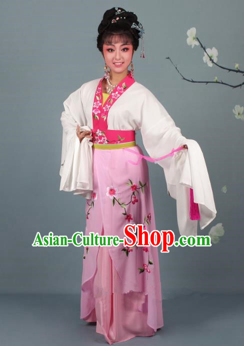 Traditional China Beijing Opera Young Lady Hua Tan Costume Princess Pink Embroidered Dress, Ancient Chinese Peking Opera Diva Embroidery Peach Blossom Clothing