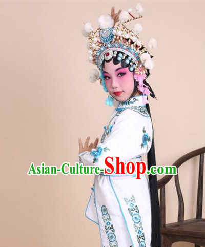Traditional China Beijing Opera Swordplay Costume Female Warriors White Embroidered Robe and Headwear, Ancient Chinese Peking Opera Blues Embroidery Clothing for Kids