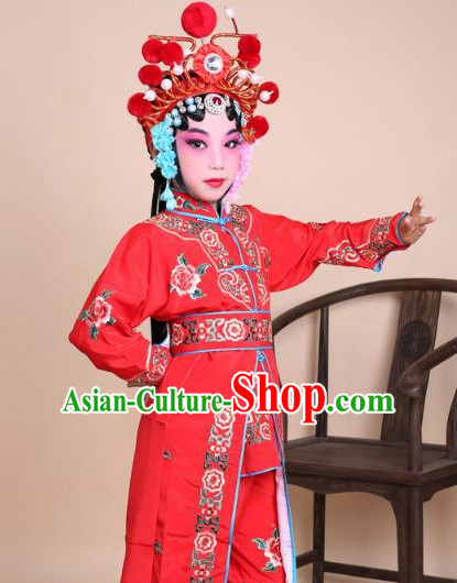 Traditional China Beijing Opera Swordplay Costume Female Warriors Red Embroidered Robe and Headwear, Ancient Chinese Peking Opera Blues Embroidery Clothing for Kids