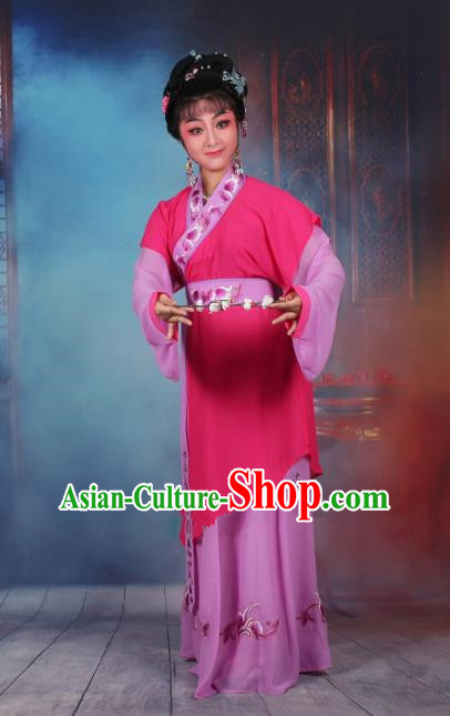 Top Grade Professional Beijing Opera Young Lady Costume Servant Girl Rosy Embroidered Dress, Traditional Ancient Chinese Peking Opera Maidservants Embroidery Clothing